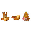 bread collection products food bakery image vector image