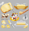 butter milk farm 3d realistic icon set vector image vector image