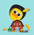 chicken with barn and tractor on farm vector image