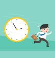 cute businessman running from big clock follow vector image