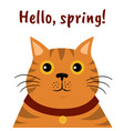 cute cartoon orange cat icon hello spring vector image vector image