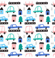 cute childish cars in city seamless pattern vector image