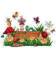 different animal garden with timber isolated vector image vector image