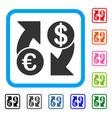 euro dollar exchange arrows framed icon vector image vector image