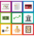 flat exchequer set of document bank counter and vector image vector image