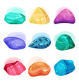 flat set of various glossy gemstones shiny vector image