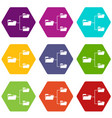 folders structure icon set color hexahedron vector image vector image