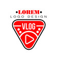 geometric logo for vlog or youtube channel vector image vector image
