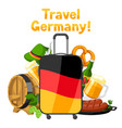 german background design with suitcase vector image
