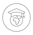 Globe in graduation cap line icon vector image vector image