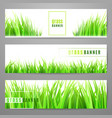grass banner set with fresh green tufts isolated vector image
