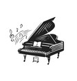 hand drawn grand piano in sketch style music vector image