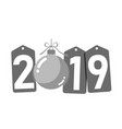 happe new year silver background isolated 2019 vector image vector image