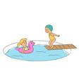 happy children play in swimming pool in aqua park vector image vector image