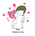 happy valentines day cute cartoon greeting card vector image