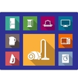 Household equipment flat icons set vector image