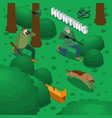 hunting isometric composition vector image vector image
