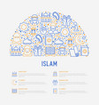 islam concept with thin line icons vector image vector image
