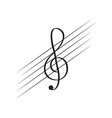 isolated treble clef note on a pentagram vector image vector image