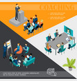 isometric business coaching colorful template vector image vector image