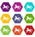 knight horse mascot icons set 9 vector image