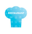 line icons in chefs hat shape restaurant vector image vector image