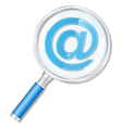 Magnifying glass with email symbol vector image
