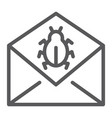 mail virus attack line icon message and security vector image