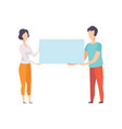 man and woman holding blank banner promotion vector image vector image