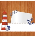 Marine background with lighthouse anchor shell and vector image vector image