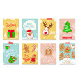 merry christmas winter holiday greeting cookies vector image vector image