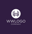 monogram initial ww logo design inspiration vector image vector image
