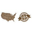 mosaic map of usa with coffee beans and scratched vector image vector image