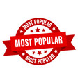 most popular ribbon most popular round red sign vector image vector image