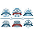 nautical logos set vector image vector image