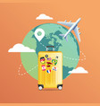 plane flying around world with yellow luggage vector image vector image