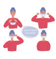 protective mask human gestures how wear flu mask vector image vector image