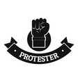 protester hand logo simple black style vector image vector image