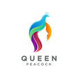 queen peacock logo icon with gradient style vector image vector image