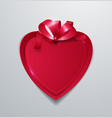 red paper heart with ribbon on white background vector image