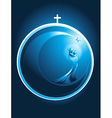 Round Christmas icon of Mary and baby Jesus vector image vector image