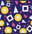 seamless pattern bubbles hearts triangles vector image