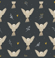seamless pattern with cute flying owls and hand vector image vector image