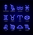 Set astrology neon zodiac signs