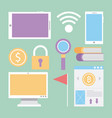 set of business office elements icons vector image
