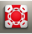 Square icon red casino chips vector image