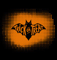 trick or treat scary bat with lettering vector image vector image