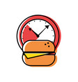 watch time with hamburger fast food vector image