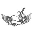 winged heart pierced dagger drawn in tattoo vector image vector image