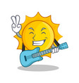 with guitar cute sun character cartoon vector image vector image